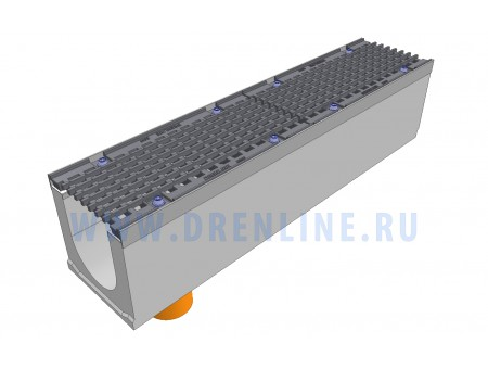 Лоток водоотводный бетонный DRENLINE Super DN150 h210 с решеткой чугунной ВЧ (комплект) кл. Е600 с вертикальным водосливом