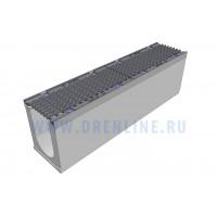 Лоток водоотводный бетонный DRENLINE Super DN150 h275 с решеткой чугунной ВЧ (комплект) кл. Е600