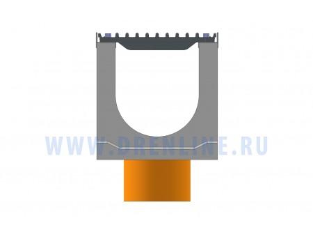 Лоток водоотводный бетонный DRENLINE Super DN200 h280 с решеткой чугунной ВЧ (комплект) кл. Е600 с вертикальным водосливом