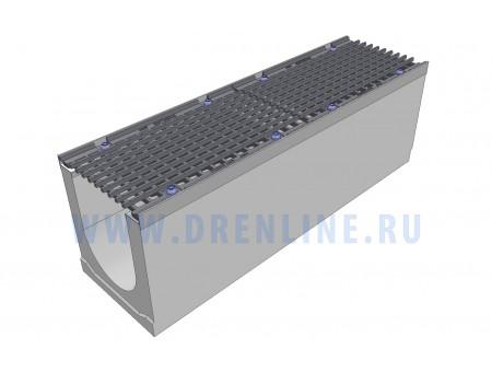 Лоток водоотводный бетонный DRENLINE Super DN200 h310 с решеткой чугунной ВЧ (комплект) кл. Е600