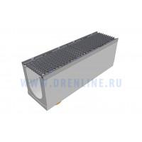 Лоток водоотводный бетонный DRENLINE Super DN200 h310 с решеткой чугунной ВЧ (комплект) кл. Е600 с вертикальным водосливом