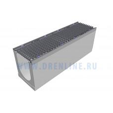 Лоток водоотводный бетонный DRENLINE Super DN200 h330 с решеткой чугунной ВЧ (комплект) кл. Е600