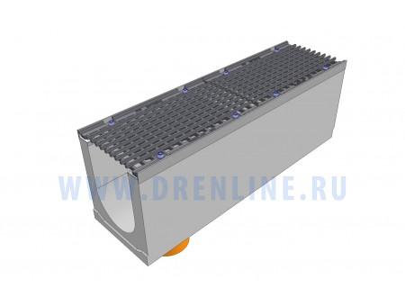Лоток водоотводный бетонный DRENLINE Super DN200 h330 с решеткой чугунной ВЧ (комплект) кл. Е600 с вертикальным водосливом