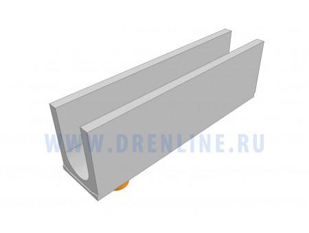 Лоток водоотводный бетонный DRENLINE Standart DN150 h290 с вертикальным водосливом