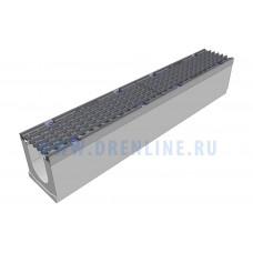 Лоток водоотводный бетонный DRENLINE Super DN100 h165 с решеткой чугунной ВЧ (комплект) кл. Е600