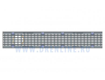 Лоток водоотводный бетонный DRENLINE Super DN100 h165 с решеткой чугунной ВЧ (комплект) кл. Е600 с вертикальным водосливом