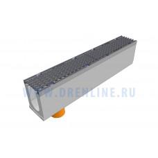 Лоток водоотводный бетонный DRENLINE Super DN100 h210 с решеткой чугунной ВЧ (комплект) кл. Е600 с вертикальным водосливом